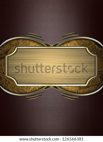 Design template - Brown texture with gold name plate with gold ornate edges - stock photo