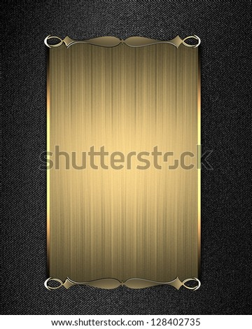 Design template - Brown texture with gold plate and gold ornament on edges