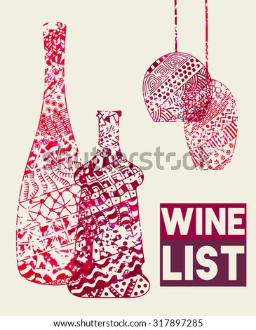 Design template for a wine menu with wineglasses and bottles in the style of zentangle. Hand-drawn. Raster copy of vector file. - stock photo