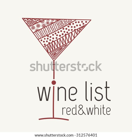 Design template for menu with a wineglass in the style of zentangle. Hand-drawn. Raster copy of vector file. - stock photo