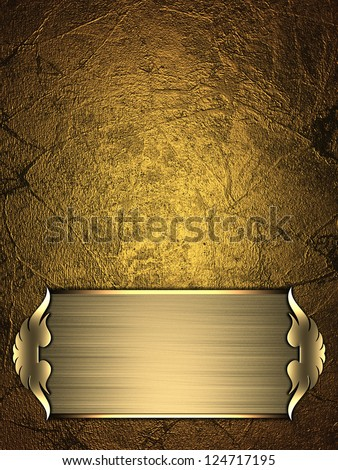 Design template - Gold Background with gold plate and a beautiful gold trim. - stock photo