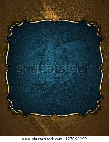 Design template - Gold texture with a  blue name plate with gold pattern