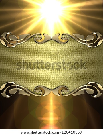 Design template - Red background with a gold name plate with patterns on the edges - stock photo