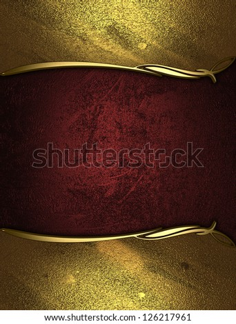 Design template - Red rich texture with golden edges and gold trim - stock photo