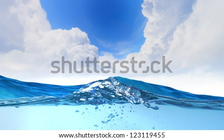 design template with underwater part and sunset skylight splitted by waterline - stock photo