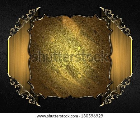 Design templates - Black background with golden nameplate and gold trim