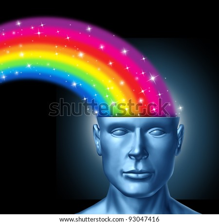 Design thinking and the creative brain with a front facing human head that has a colorful rainbow expressing itself out of the persons brain as artistic innovation and new thinking in business. - stock photo
