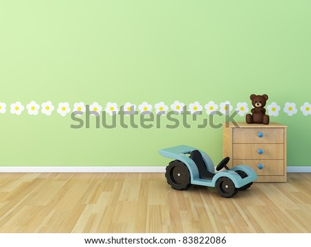 Design wall  painted room  baby  flower - stock photo