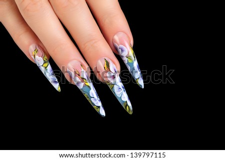 Design women's nails.Isolated on black background. - stock photo