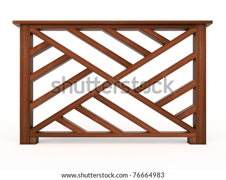 Design wooden railing with wooden balusters - stock photo