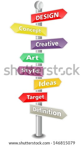DESIGN, word cloud designed as a colorful traffic sign or road signpost - stock photo