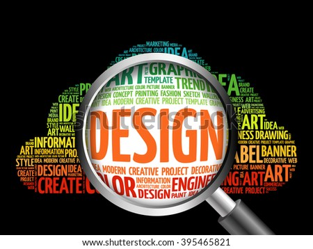 DESIGN word cloud with magnifying glass, business concept - stock photo