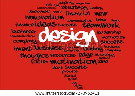 DESIGN word on speech bubble with business concept - stock photo