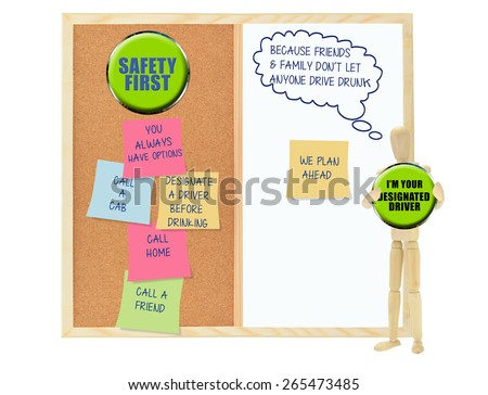 Designated Driver: Family and Friends don't let anyone drive drunk: Cork board with Safety first post its (you always have options, call home, call friend, call a cab - stock photo