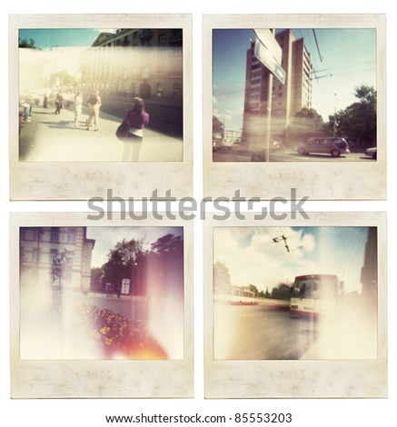 Designed abstract vintage instant photos. - stock photo