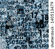 Designed background. Collage of numbers made of newspaper clippings. - stock photo