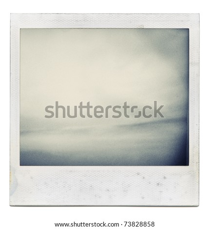 Designed grungy instant film frame with abstract filling isolated on white, kind of background, vintage hard grain effect added - stock photo