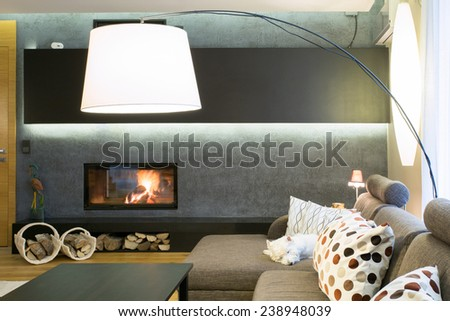 Designed lamp in modern luxury living room - stock photo