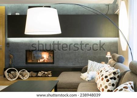 Designed lamp in modern luxury living room - stock photo