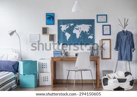 Designed modern study room for male student - stock photo