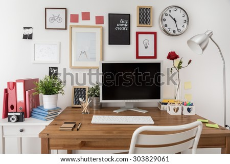 Designed modern workspace with white desktop computer  - stock photo