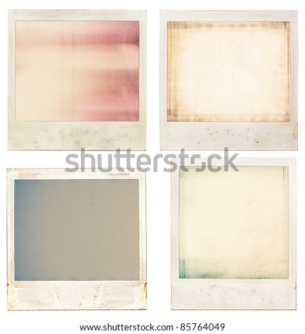 Designed retro instant film frames with abstract filling. - stock photo
