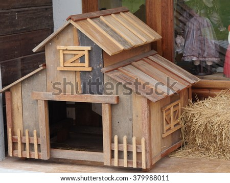 Designed wooden dog house