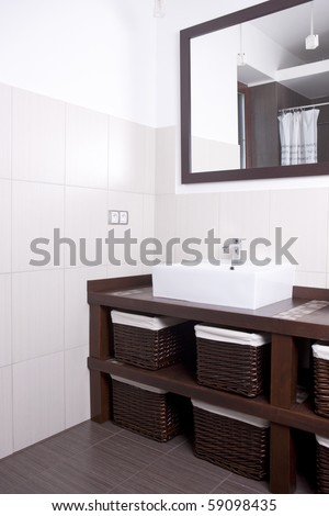 Designer bathroom with a modern, clean style - stock photo