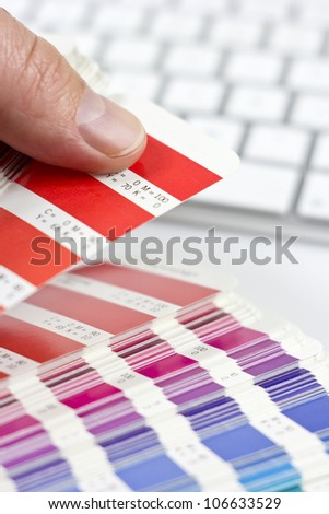 designer choosing proper color - stock photo