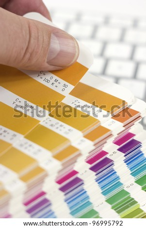 designer choosing proper color - stock photo