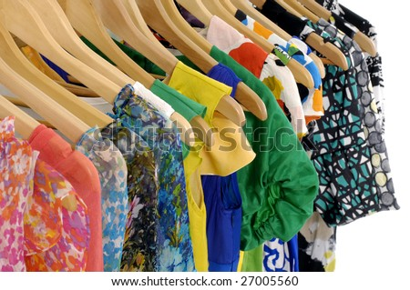 Designer clothes hanger in a row - stock photo