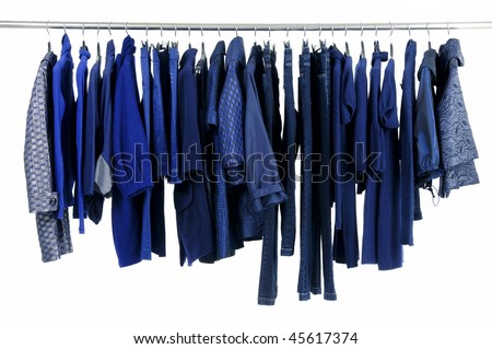 Designer fashion clothing hanging as display - stock photo