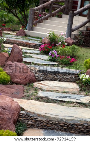 Designer garden and stones - stock photo