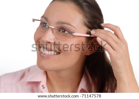 Designer glasses - portrait of trendy woman fashion