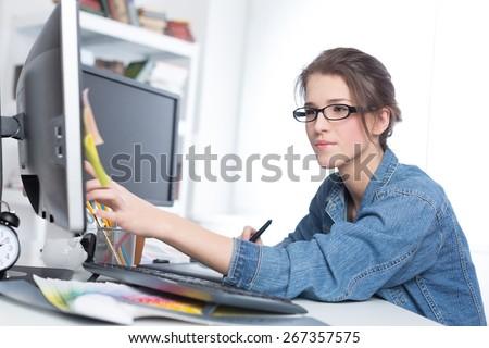 Designer, graphic, working. - stock photo
