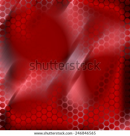 Designer image feed of metal brushed and openwork mesh, perforated metal panel, with round holes and red color burning hot iron background with dimmed regions - stock photo