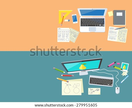Designer office workspace with tools and devices in modern flat style. Creative process, logo and graphic design, design agency. Top view banners with buttons. Raster version - stock photo