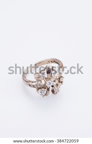 designer ring with crystals on white