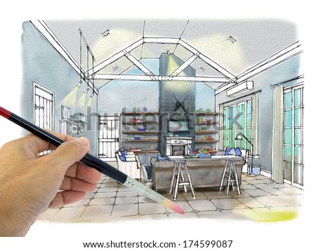 Designers hand drawing interior perspective coastal stock - Hand drafting for interior design ...