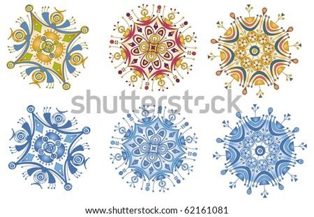 Designer Snowflakes - Raster Version - stock photo