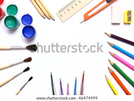 Designer tools isolated on white - stock photo
