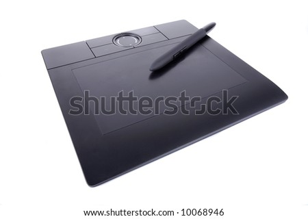 Designer tools. Pen tablet - stock photo