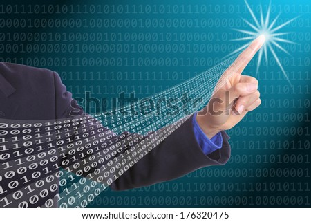 Designer touched Binary number for design program with your hand - stock photo