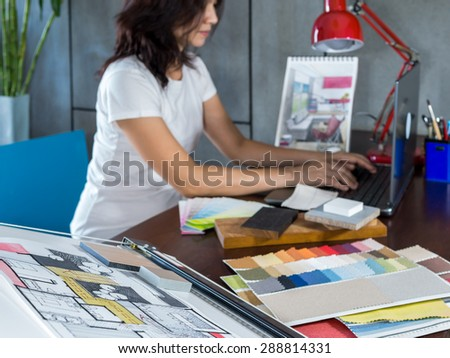 Designer working with  illustration sketch in modern Architects office