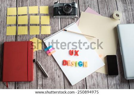 Designers desk with few elements - stock photo