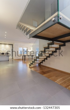Designers interior - Closeup of staircase with wooden steps - stock photo