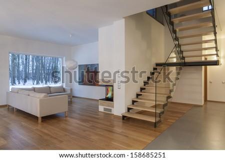 Designers interior - comfortable sofa in living room - stock photo