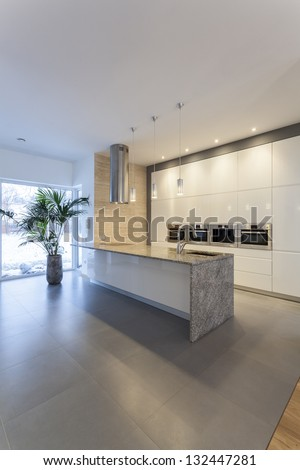 Designers interior - Countertop in modern kitchen interior - stock photo
