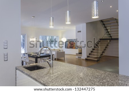 Designers interior - Dining room and a living room - stock photo
