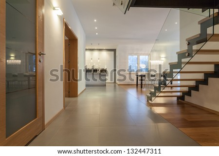 Designers interior - Kitchen, living room and a staircase - stock photo